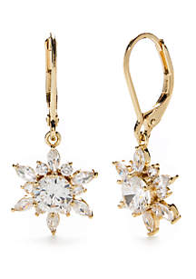 Gold-Tone Cubic Zirconia Cluster Drop Earrings