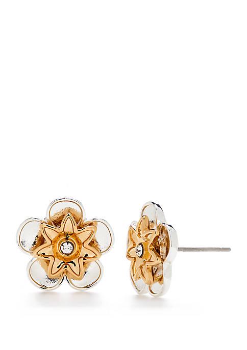 Small Button Flower Earrings