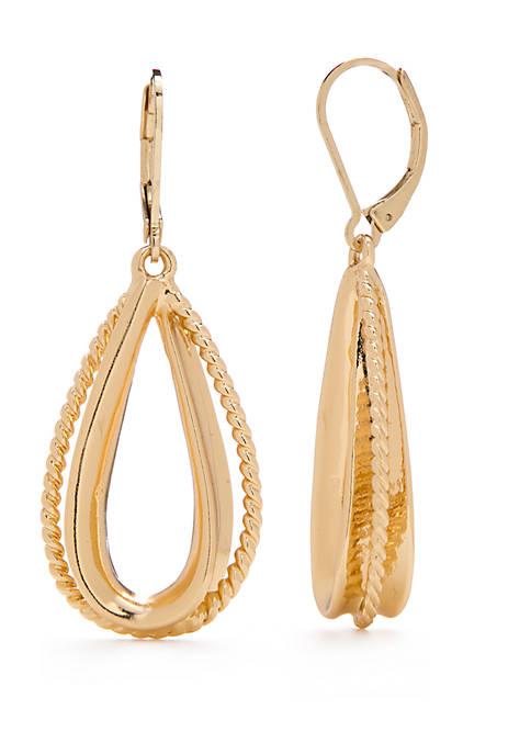 Teardrop Twist Drop Earrings