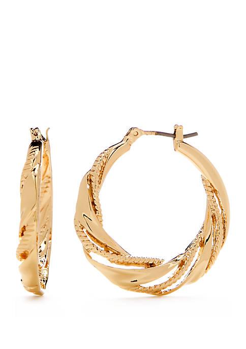 Gold Tone Medium Twist Hoop Earrings