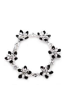 Boxed Silver-Tone Flower Link Flex Bracelet