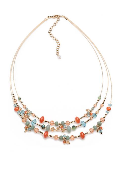 Gold Tone and Multi Stone Wire Necklace