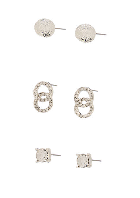 Silver Tone and Crystal Trio Stud Earring Set