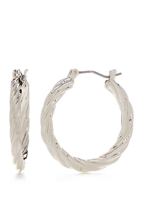 Napier Medium Silver Tone Twisted Hoop Earrings