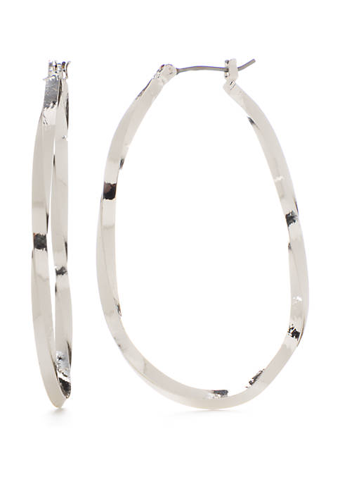 Napier Large Polished Silver Tone Oval Hoop Earrings