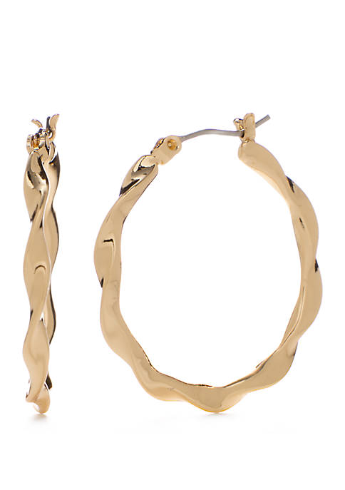 Napier Gold Tone Medium Twisted Hoop Earrings