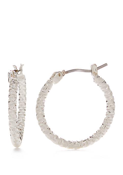 Small Silver Tone Textured Hoop Earrings