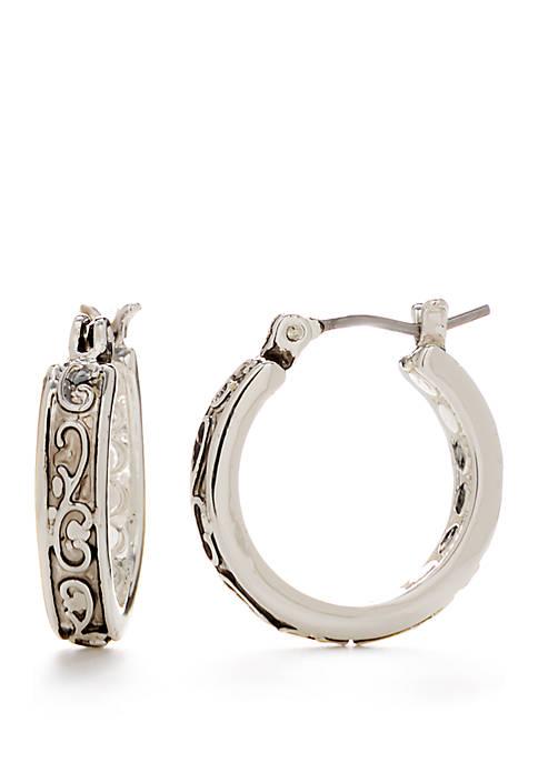 Silver Tone Small Click Top Hoop Earrings