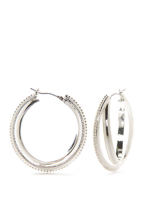 Silver Tone Textured Hoop Earrings