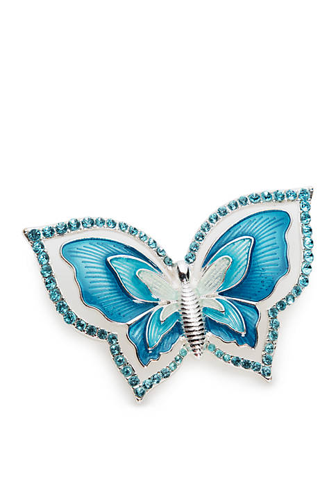 Boxed Silver Tone Butterfly Pin