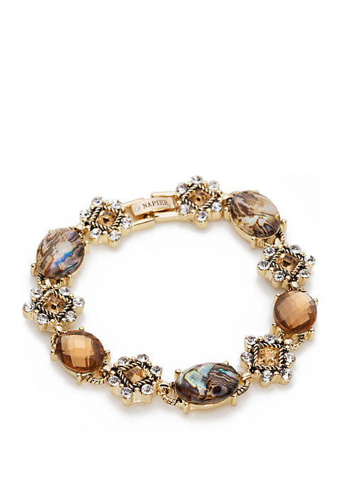 Boxed Gold Tone And Neutral Stone Cluster Flex Bracelet