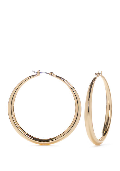 Napier Gold Tone Large Tubular Hoop Earrings