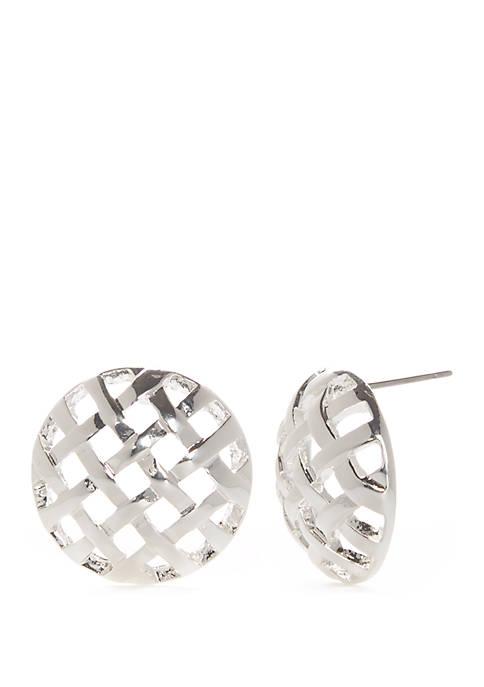 Woven Button Stud Earrings
