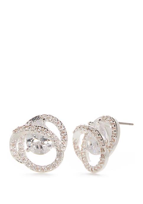 Cubic Zirconia Swirl Button Earrings