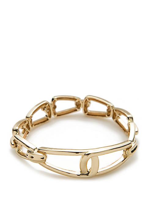 Napier Gold Tone Link Stretch Bracelet