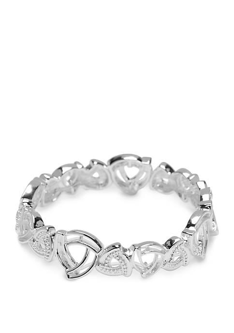 Silver Tone Swirl Stretch Bracelet