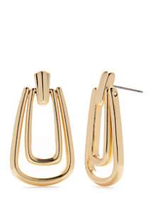 Napier Large Doorknocker Drop Earrings