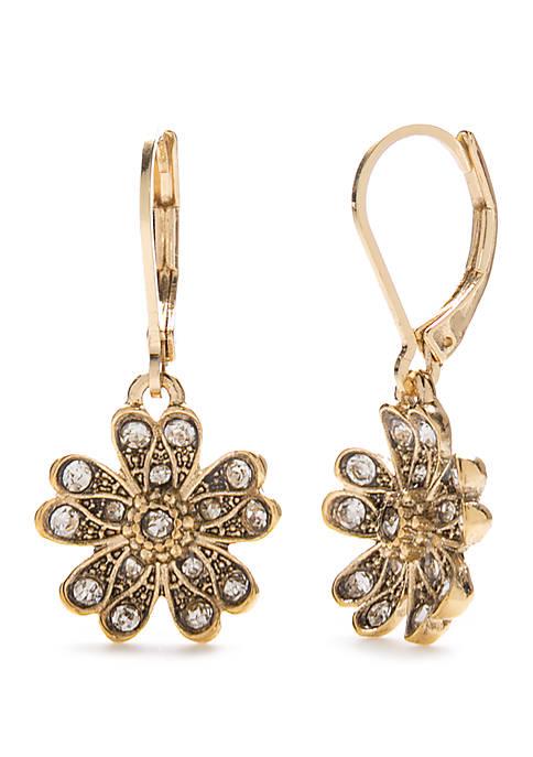 Gold Tone Flower Drop Earrings