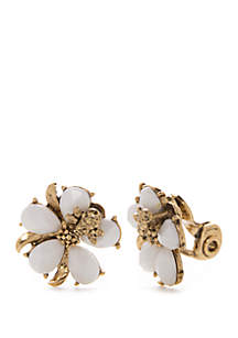 Napier Gold Tone Flower Button Earrings