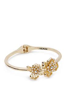 Napier Gold Tone Flower Cuff Bracelet