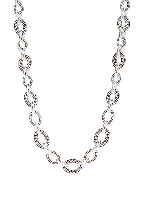 Silver Tone Collar Link Necklace