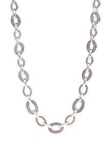 Napier Silver Tone Collar Link Necklace