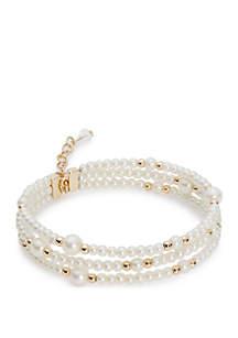 Napier Gold Tone Bead Coil Flex Bracelet