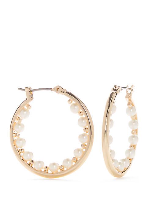 Napier Gold Tone Medium Beaded Hoop Earrings