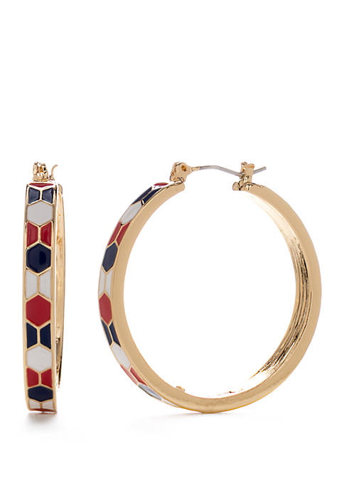 Napier Medium Gold Tone Red White and Blue