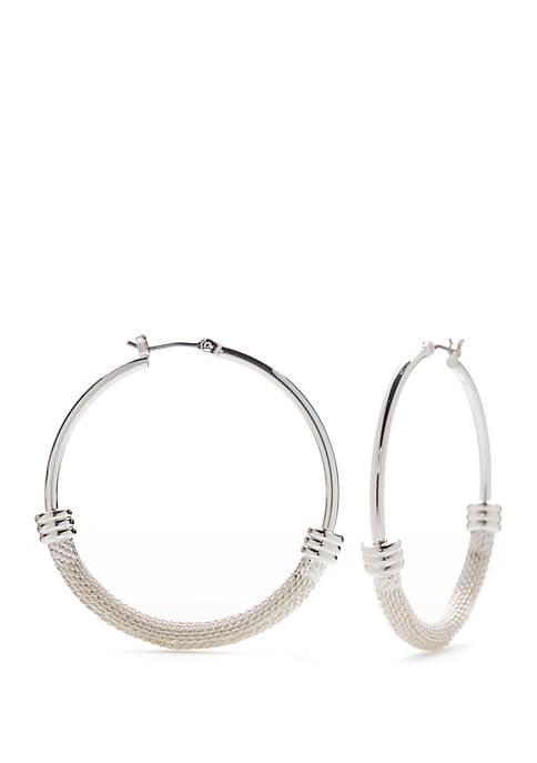 Napier Bottom Texture Hoop Earrings