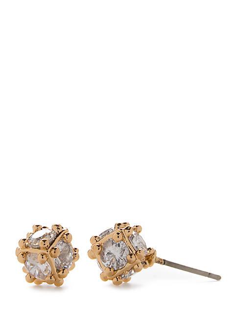 Napier Gold Tone Small Cubic Zirconia Button Earrings