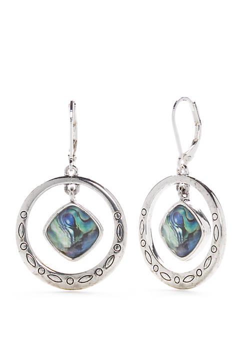 Napier Silver Tone Orbital Drop Earrings