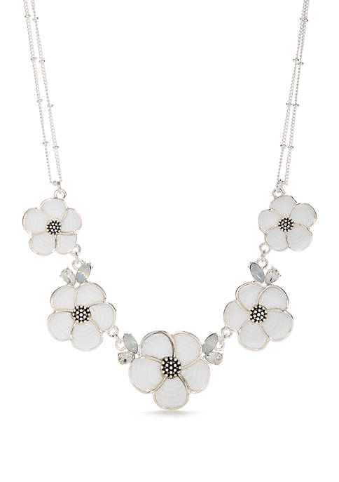 Silver Tone Mosaic Flower Frontal Necklace