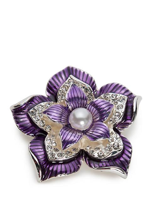 Napier Boxed Silver Tone Large Purple Flower Pin