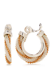 Napier 2 Tone Weave Braid Clip Hoop Earrings