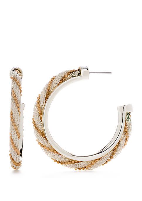 2 Tone Weave Wrap C Hoop Earrings