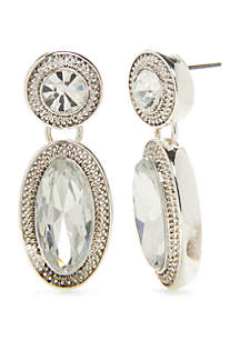 Napier Silver Tone Crystal Large Post Drop Earrings