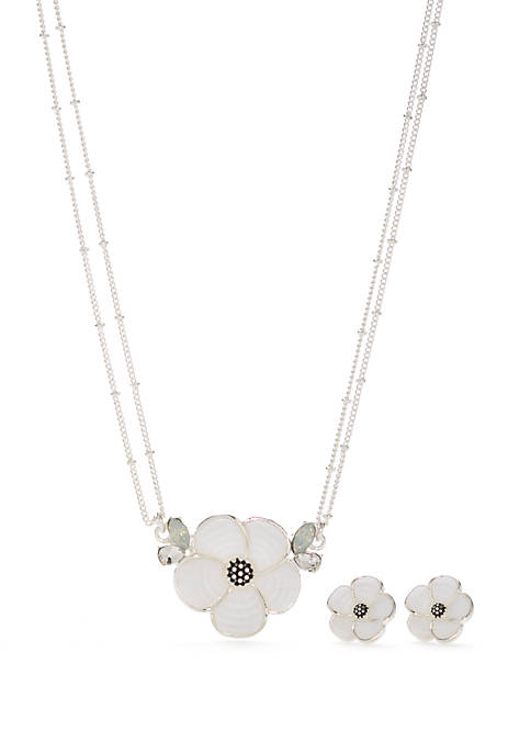 Silver Tone Mosaic Flower Necklace and Earring Set