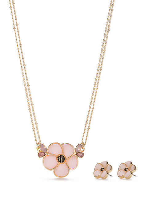 Napier Gold Tone Flower Necklace and Earring Set