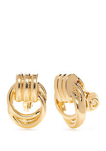 Napier Gold Tone Small Doorknocker Clip Earrings
