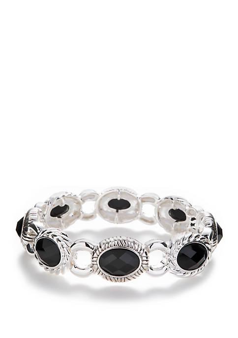 Silver Tone Stretch Link Bracelet