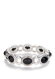 Napier Silver Tone Stretch Link Bracelet