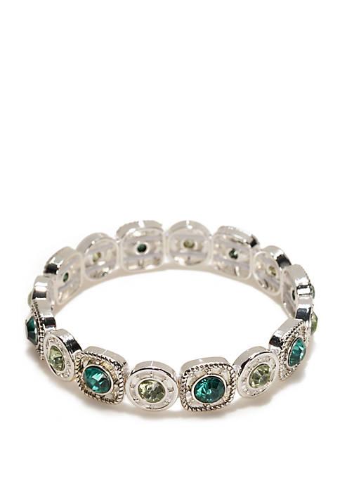Silver Tone Textured Link Bracelet