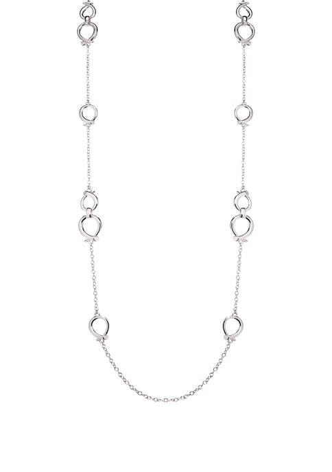 Napier 42 Inch Silver Tone Strandage Necklace