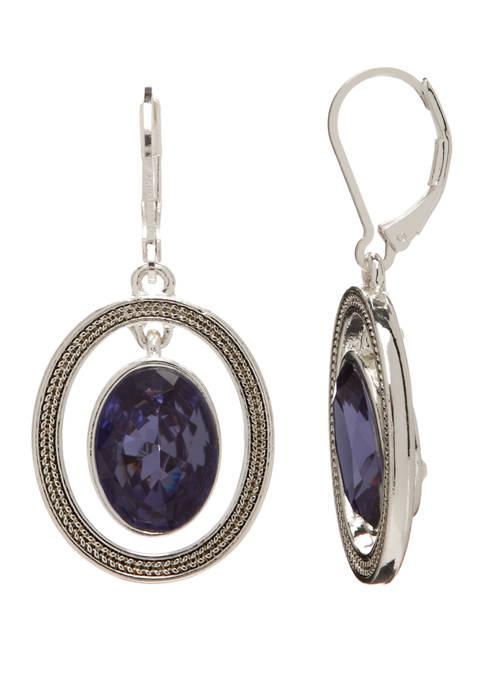 Circle Stone Drop Leverback Earrings