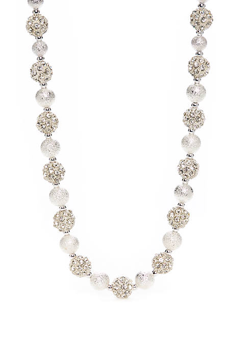 Napier Silver Tone Crystal Collar Necklace