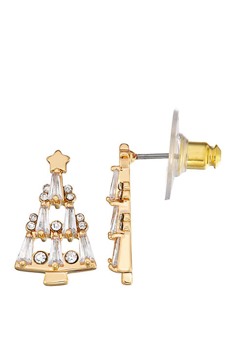 Napier Gold Tone Crystal Christmas Tree Stud Earrings