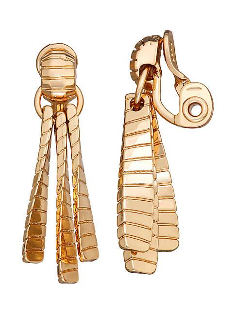 Napier Gold Tone EZ Comfort Clip Doorknocker Earrings