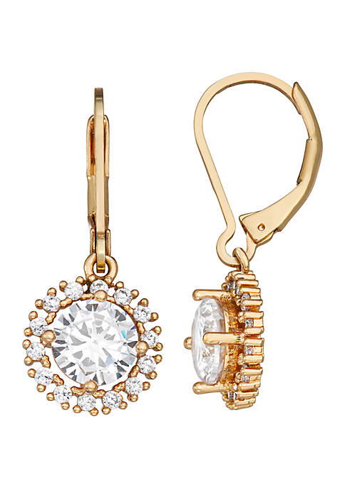 Gold Tone Crystal Drop Lever Back Earrings