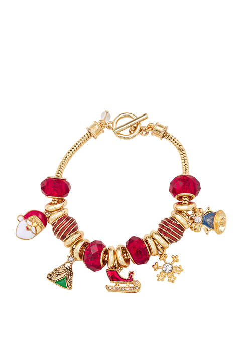 Napier Boxed Gold Tone Multi Holiday Slider Bracelet